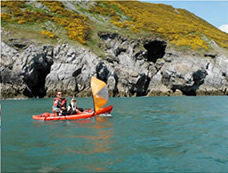 Kayak sail in use