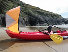 Kayak sail in the wind
